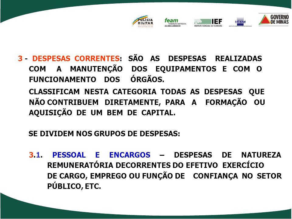3 - DESPESAS CORRENTES: SÃO AS DESPESAS REALIZADAS COM A MANUTENÇÃO DOS EQUIPAMENTOS E COM O FUNCIONAMENTO DOS ÓRGÃOS.