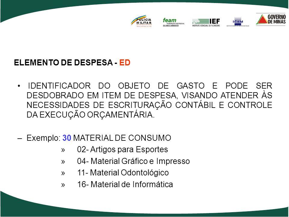 ELEMENTO DE DESPESA - ED
