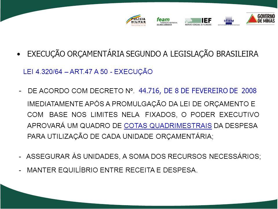 EXECUÇÃO ORÇAMENTÁRIA SEGUNDO A LEGISLAÇÃO BRASILEIRA