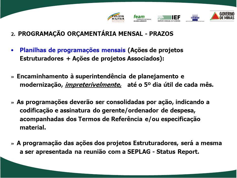 2. PROGRAMAÇÃO ORÇAMENTÁRIA MENSAL - PRAZOS
