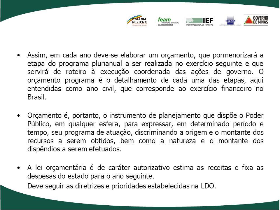 Assim, em cada ano deve-se elaborar um orçamento, que pormenorizará a etapa do programa plurianual a ser realizada no exercício seguinte e que servirá de roteiro à execução coordenada das ações de governo. O orçamento programa é o detalhamento de cada uma das etapas, aqui entendidas como ano civil, que corresponde ao exercício financeiro no Brasil.