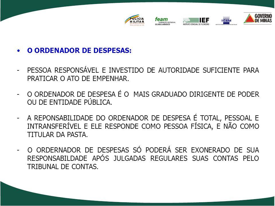 O ORDENADOR DE DESPESAS: