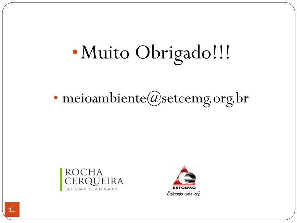 Muito Obrigado!!! meioambiente@setcemg.org.br 11 11