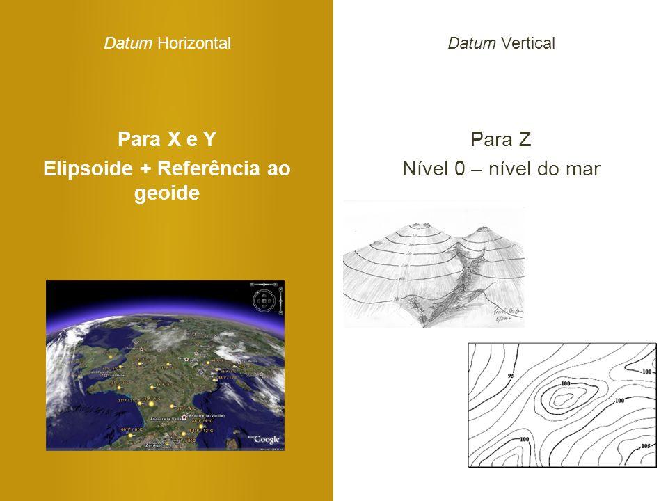 Para X e Y Elipsoide + Referência ao geoide