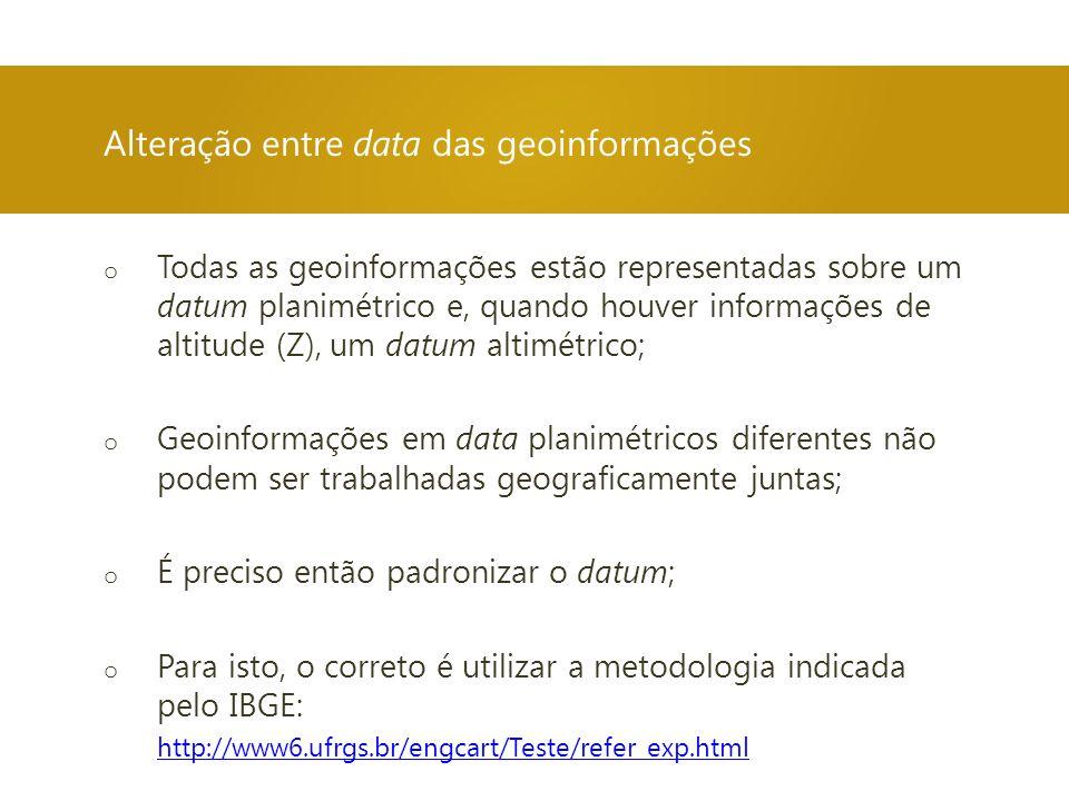 Alteração entre data das geoinformações
