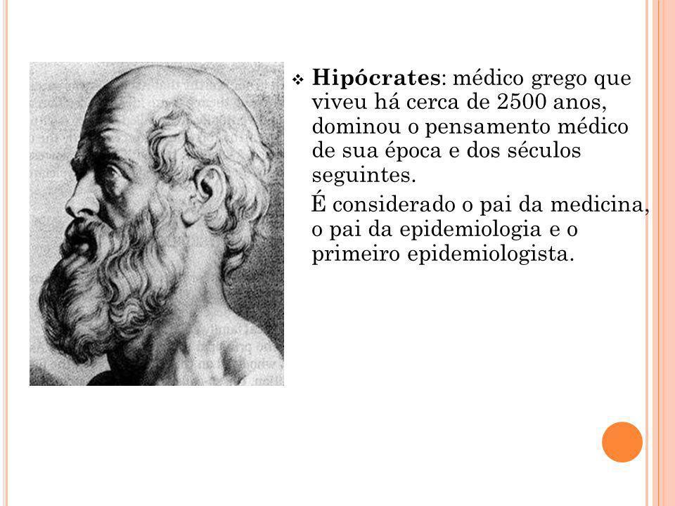 Hipócrates: médico grego que viveu há cerca de 2500 anos, dominou o pensamento médico de sua época e dos séculos seguintes.