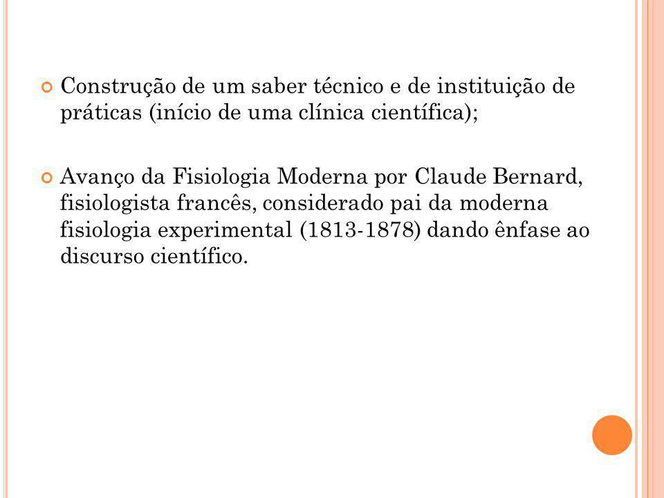 Construção de um saber técnico e de instituição de práticas (início de uma clínica científica);