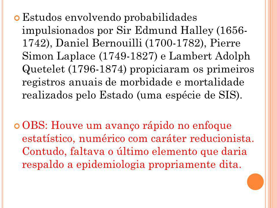 Estudos envolvendo probabilidades impulsionados por Sir Edmund Halley (1656- 1742), Daniel Bernouilli (1700-1782), Pierre Simon Laplace (1749-1827) e Lambert Adolph Quetelet (1796-1874) propiciaram os primeiros registros anuais de morbidade e mortalidade realizados pelo Estado (uma espécie de SIS).