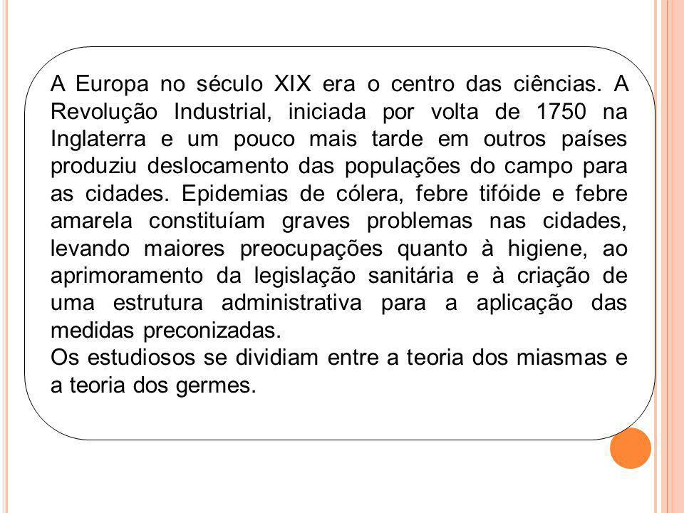 A Europa no século XIX era o centro das ciências