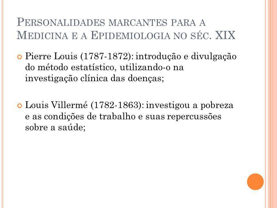 Personalidades marcantes para a Medicina e a Epidemiologia no séc. XIX