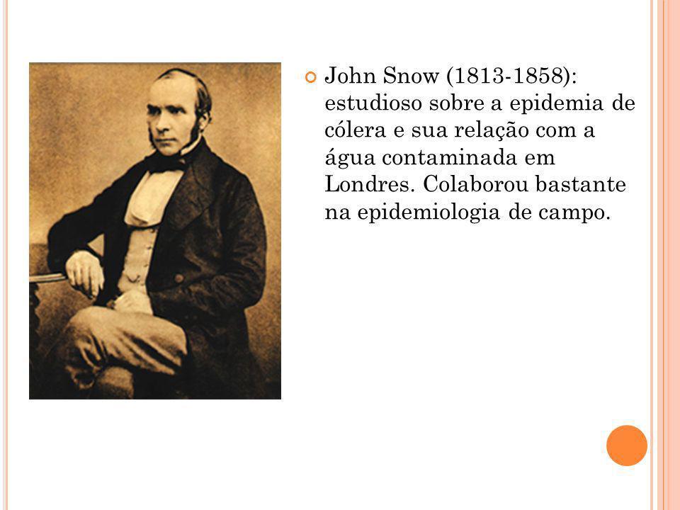John Snow (1813-1858): estudioso sobre a epidemia de cólera e sua relação com a água contaminada em Londres.