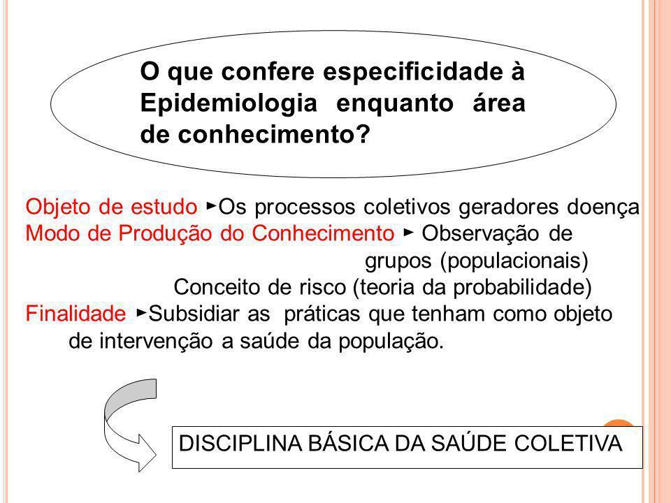 O que confere especificidade à Epidemiologia enquanto área de conhecimento