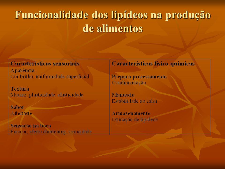 Funcionalidade dos lipídeos na produção de alimentos