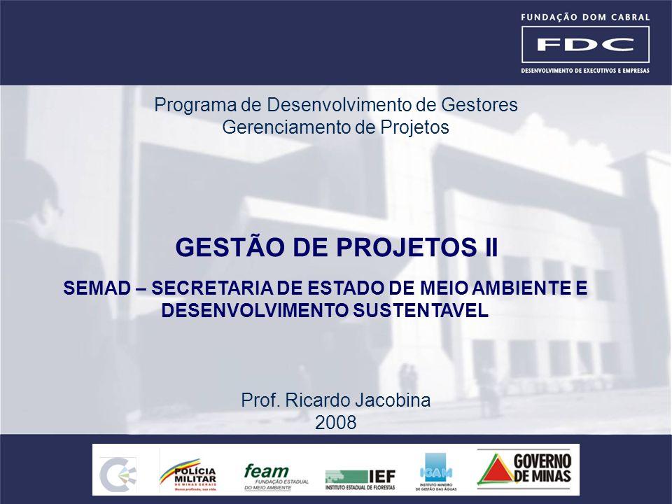 GESTÃO DE PROJETOS II Programa de Desenvolvimento de Gestores
