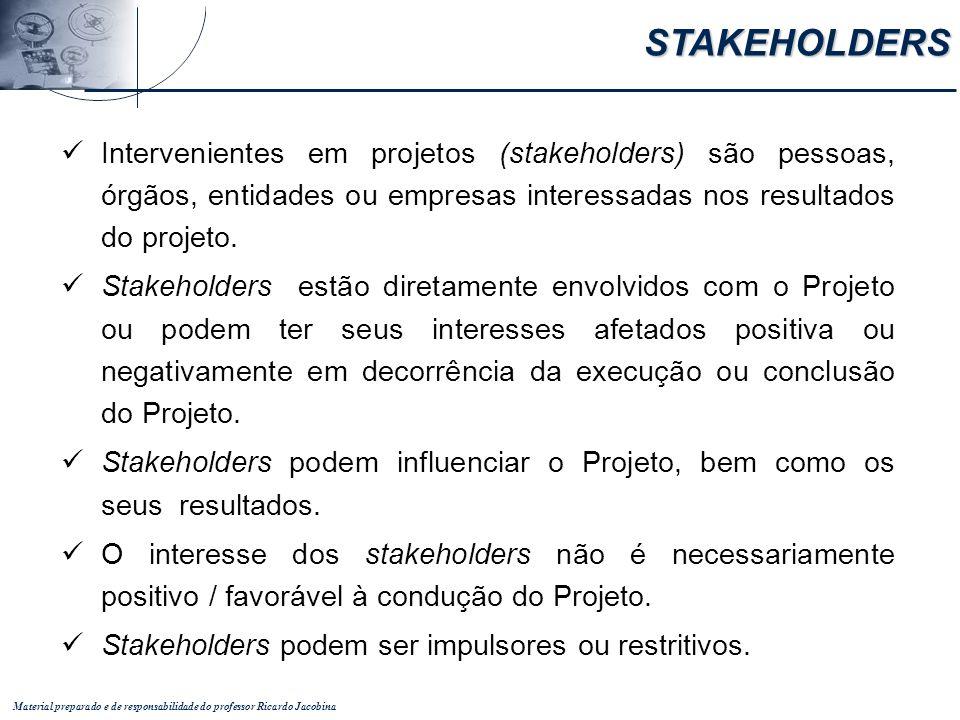STAKEHOLDERS Intervenientes em projetos (stakeholders) são pessoas, órgãos, entidades ou empresas interessadas nos resultados do projeto.