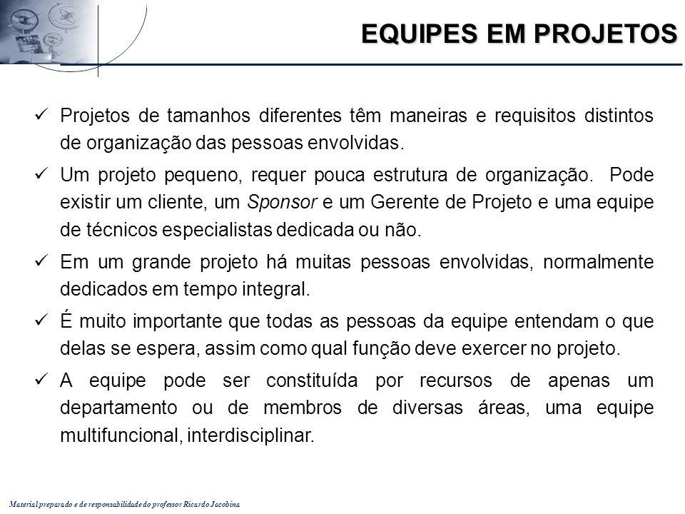 EQUIPES EM PROJETOS Projetos de tamanhos diferentes têm maneiras e requisitos distintos de organização das pessoas envolvidas.