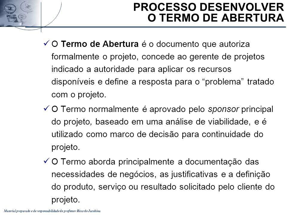 PROCESSO DESENVOLVER O TERMO DE ABERTURA