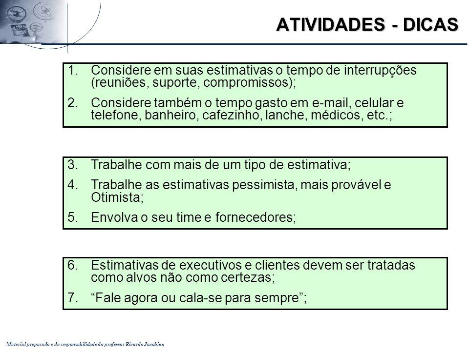 ATIVIDADES - DICAS Considere em suas estimativas o tempo de interrupções (reuniões, suporte, compromissos);