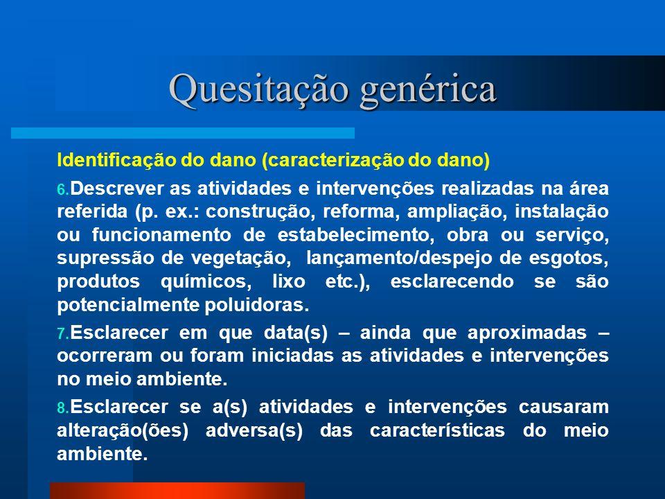 Quesitação genérica Identificação do dano (caracterização do dano)