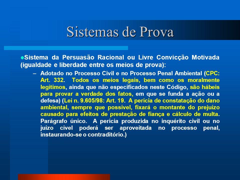 Sistemas de Prova Sistema da Persuasão Racional ou Livre Convicção Motivada (igualdade e liberdade entre os meios de prova):