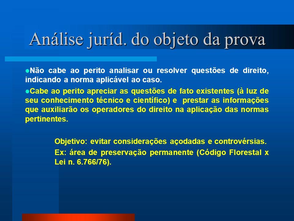 Análise juríd. do objeto da prova