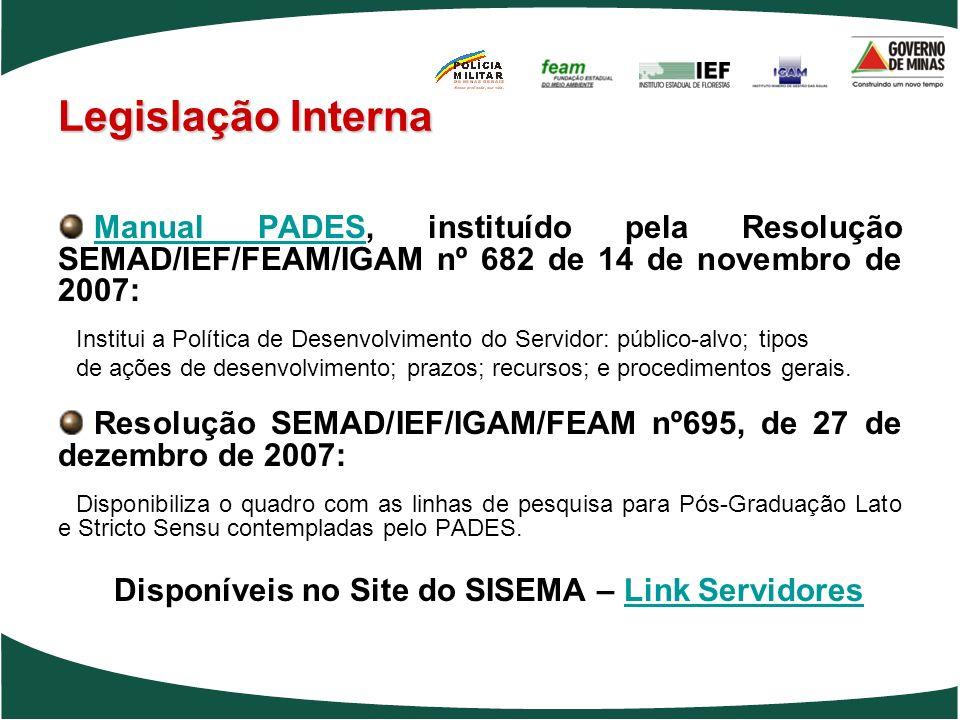 Disponíveis no Site do SISEMA – Link Servidores