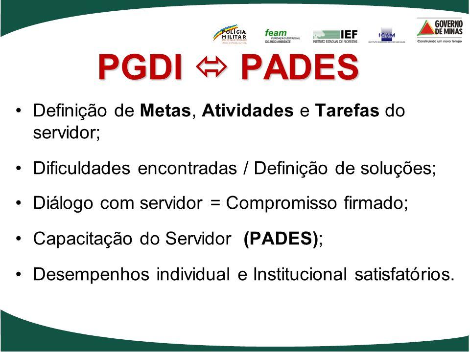 PGDI  PADES Definição de Metas, Atividades e Tarefas do servidor;