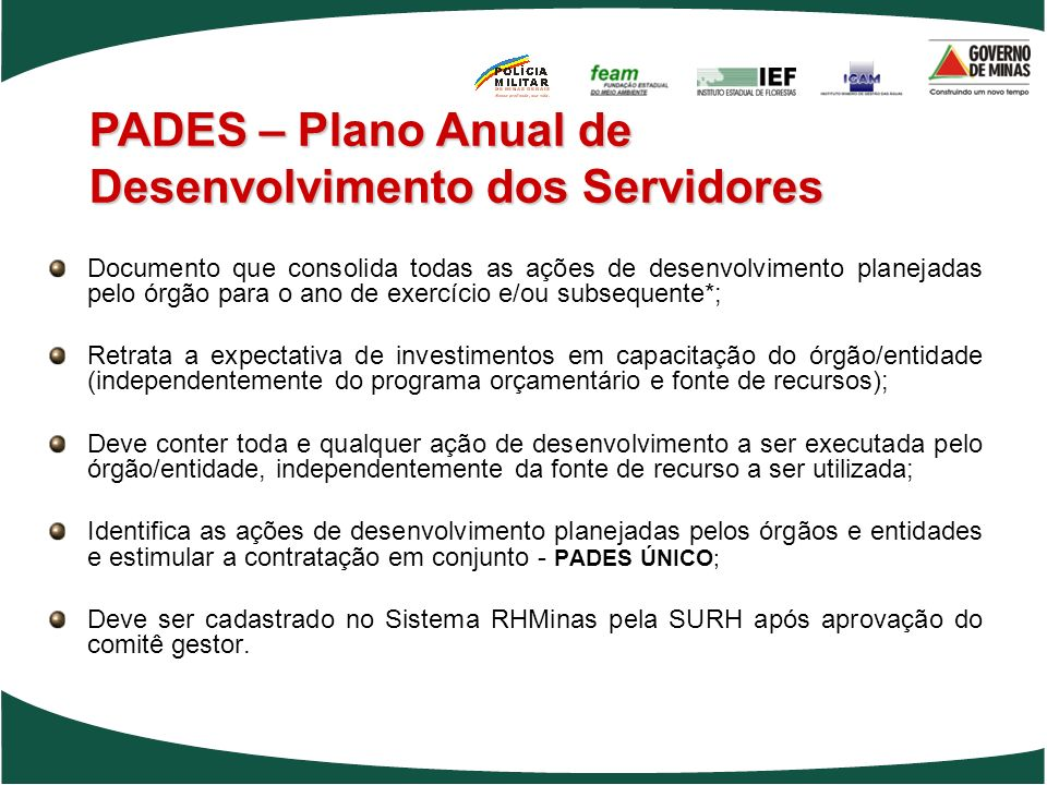 PADES – Plano Anual de Desenvolvimento dos Servidores