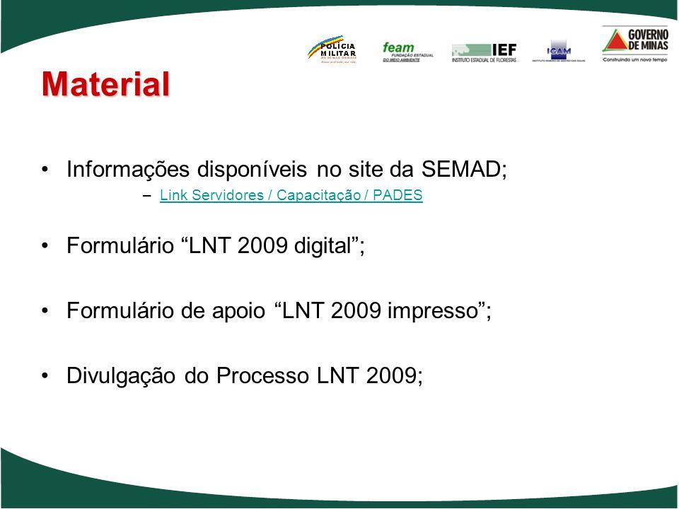 Material Informações disponíveis no site da SEMAD;
