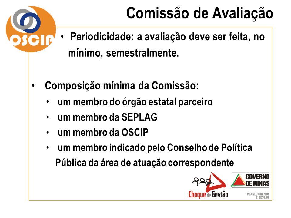 Comissão de Avaliação Periodicidade: a avaliação deve ser feita, no mínimo, semestralmente. Composição mínima da Comissão:
