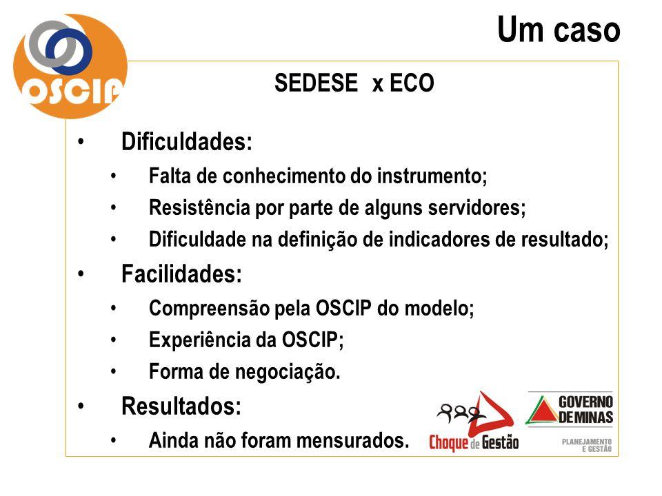 Um caso SEDESE x ECO Dificuldades: Facilidades: Resultados: