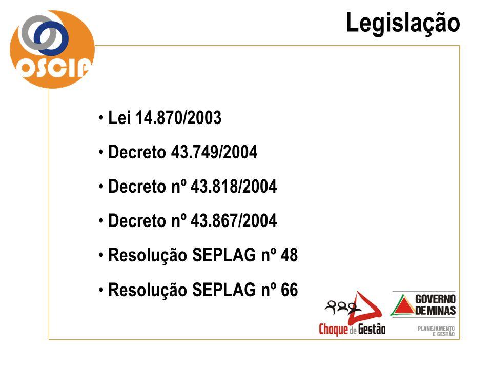 Legislação Lei 14.870/2003 Decreto 43.749/2004 Decreto nº 43.818/2004