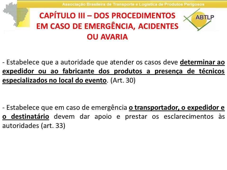 CAPÍTULO III – DOS PROCEDIMENTOS EM CASO DE EMERGÊNCIA, ACIDENTES OU AVARIA
