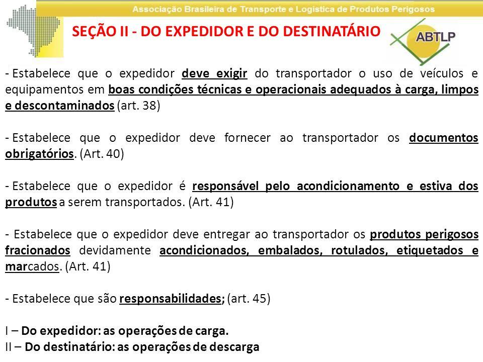 SEÇÃO II - DO EXPEDIDOR E DO DESTINATÁRIO