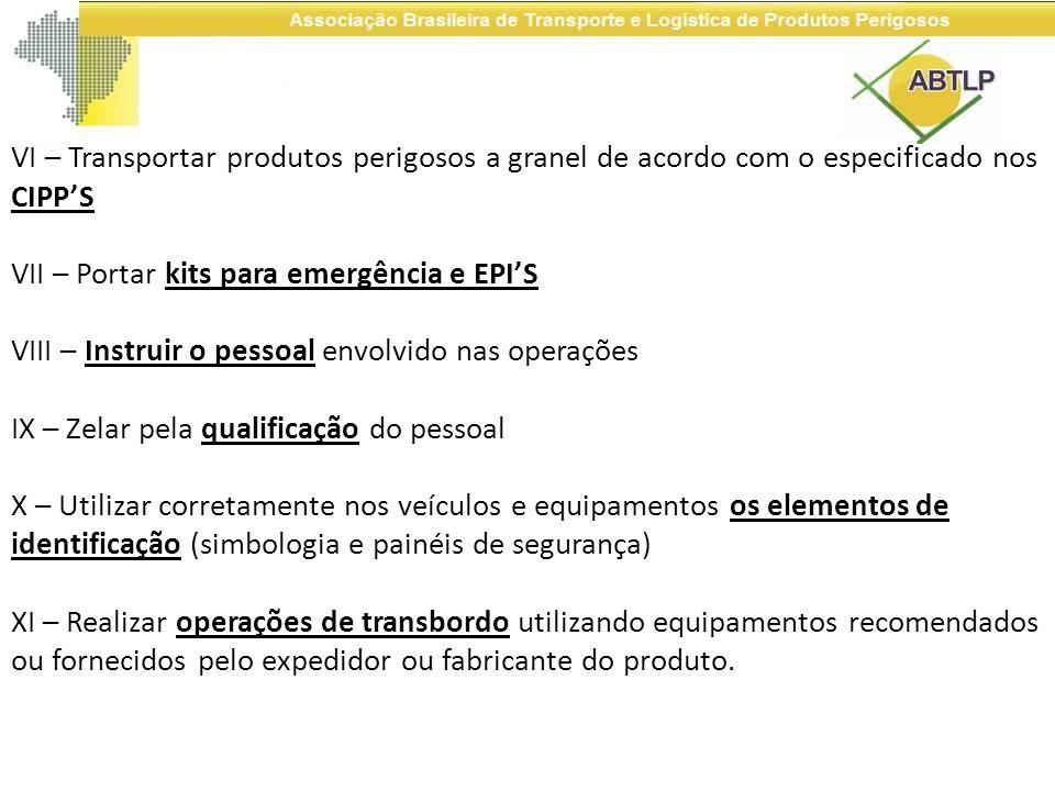 VI – Transportar produtos perigosos a granel de acordo com o especificado nos CIPP'S