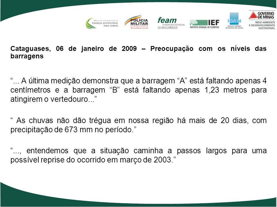 Cataguases, 06 de janeiro de 2009 – Preocupação com os níveis das barragens