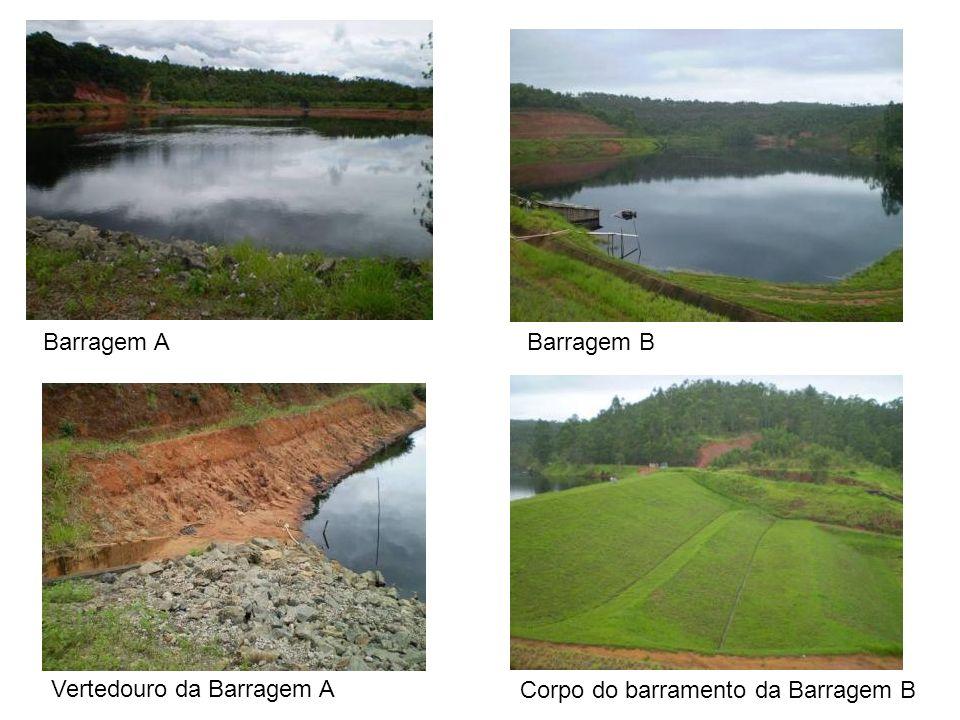 Barragem A Barragem B Vertedouro da Barragem A Corpo do barramento da Barragem B