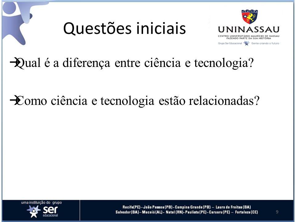 Questões iniciais Qual é a diferença entre ciência e tecnologia