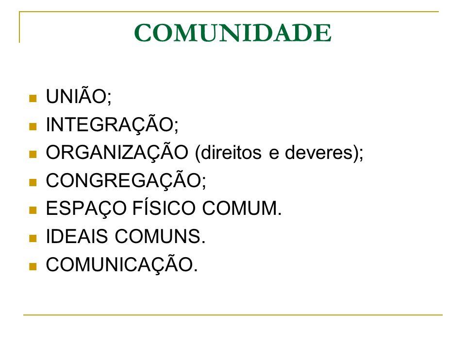 COMUNIDADE UNIÃO; INTEGRAÇÃO; ORGANIZAÇÃO (direitos e deveres);