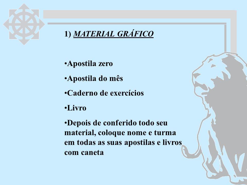 1) MATERIAL GRÁFICO Apostila zero. Apostila do mês. Caderno de exercícios. Livro.