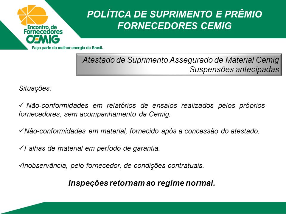 POLÍTICA DE SUPRIMENTO E PRÊMIO FORNECEDORES CEMIG