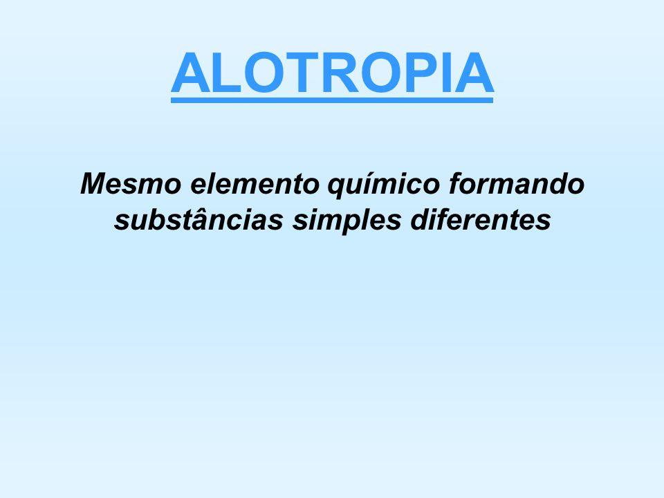 Mesmo elemento químico formando substâncias simples diferentes