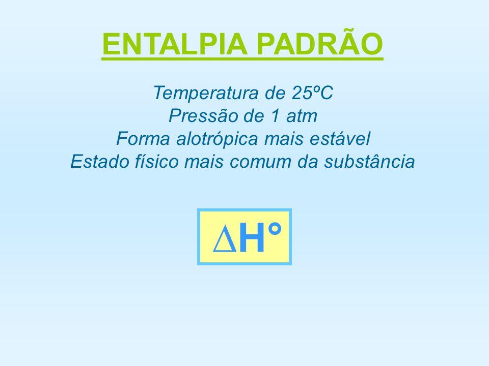 ENTALPIA PADRÃO ∆H° Temperatura de 25ºC Pressão de 1 atm