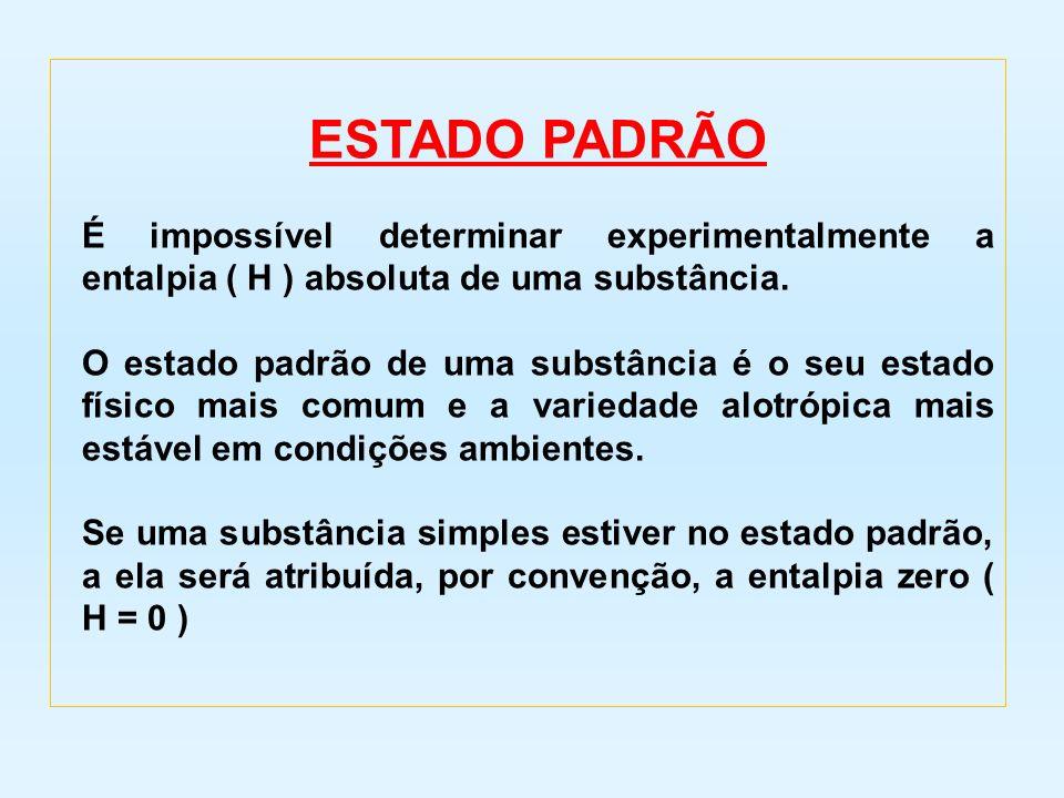 ESTADO PADRÃO É impossível determinar experimentalmente a entalpia ( H ) absoluta de uma substância.