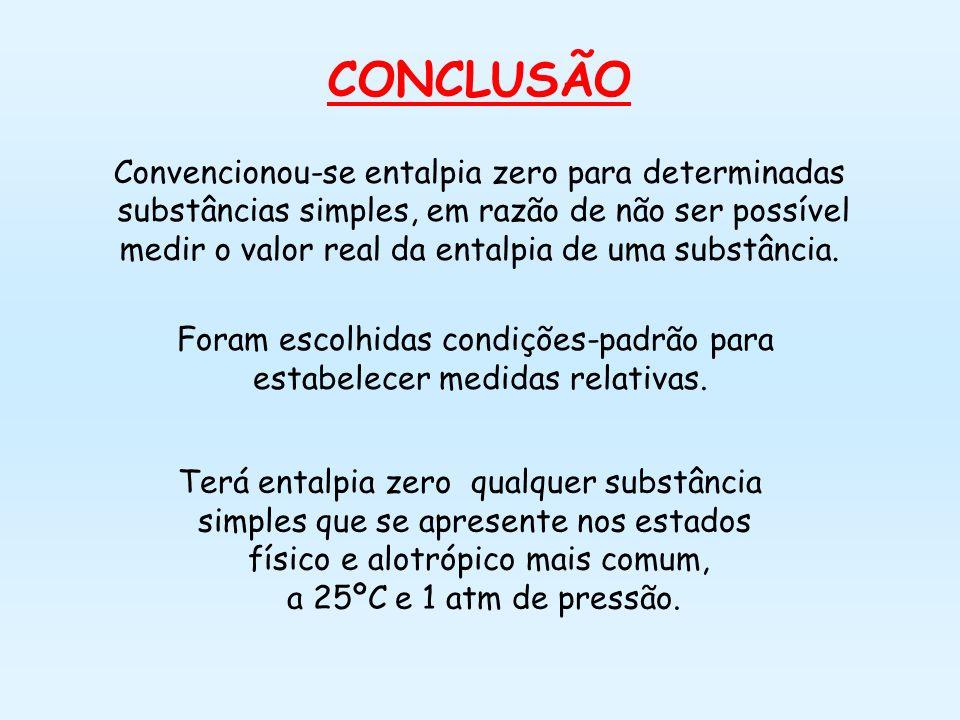 CONCLUSÃO Convencionou-se entalpia zero para determinadas