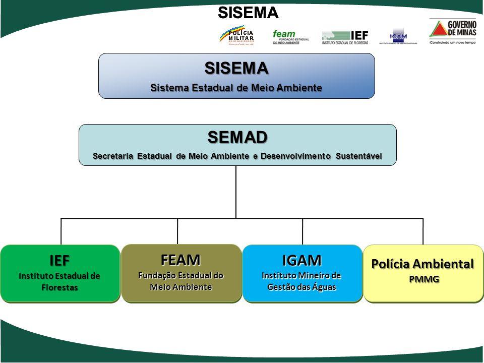 SISEMA SEMAD IEF FEAM IGAM SISEMA SISEMA Polícia Ambiental PMMG