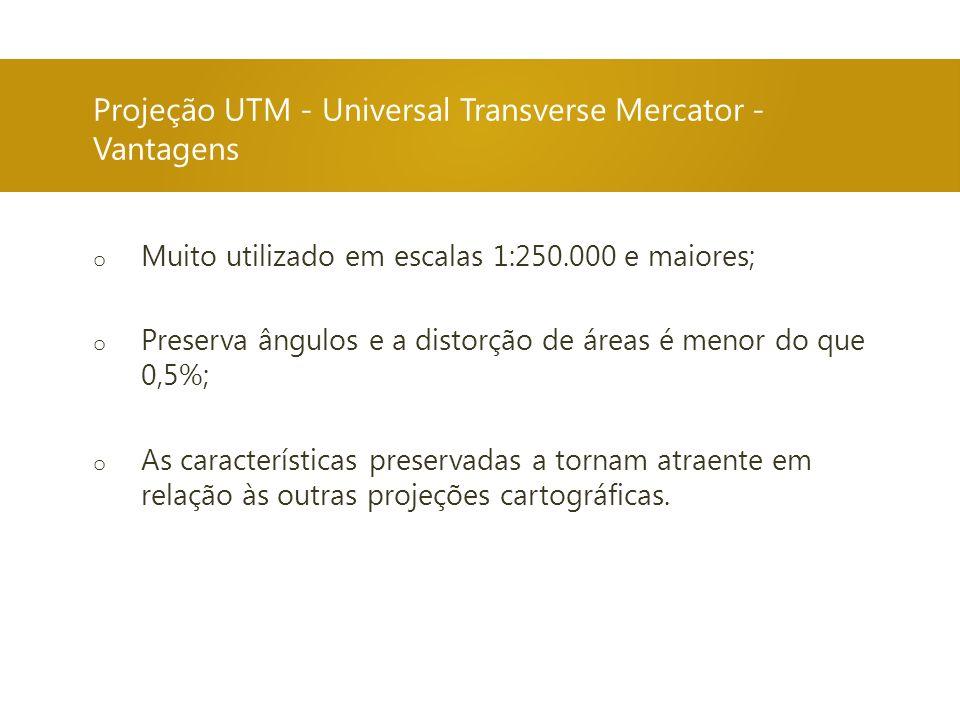 Projeção UTM - Universal Transverse Mercator - Vantagens