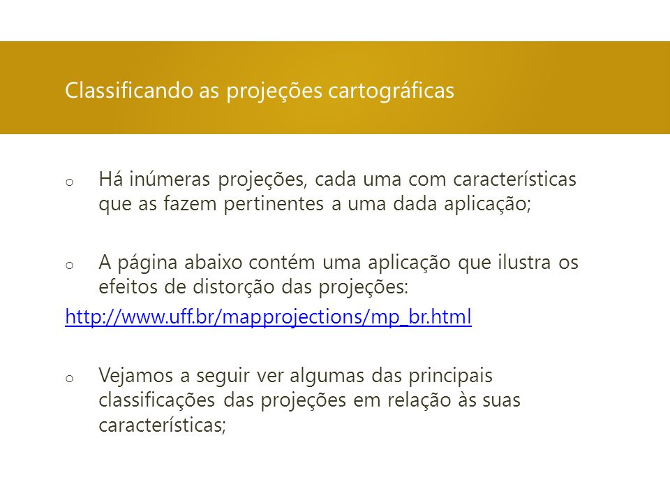 Classificando as projeções cartográficas