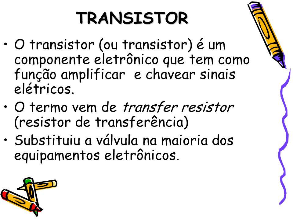 TRANSISTOR O transistor (ou transistor) é um componente eletrônico que tem como função amplificar e chavear sinais elétricos.