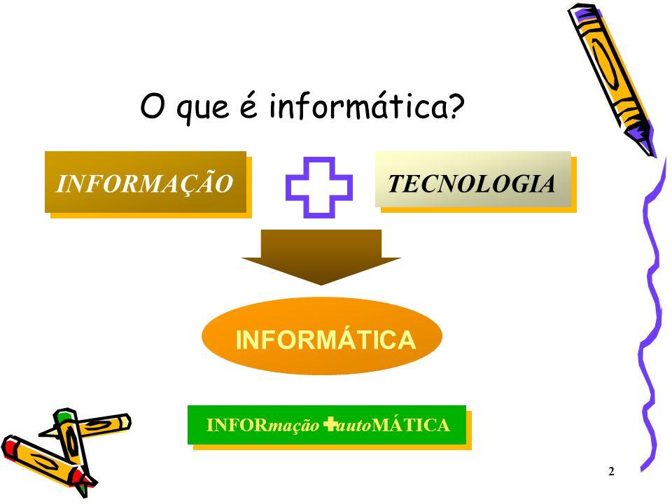 O que é informática INFORMAÇÃO TECNOLOGIA INFORMÁTICA